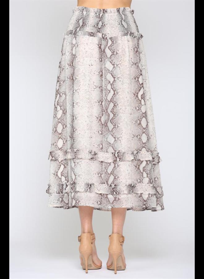 Smocked Snakeskin Skirt