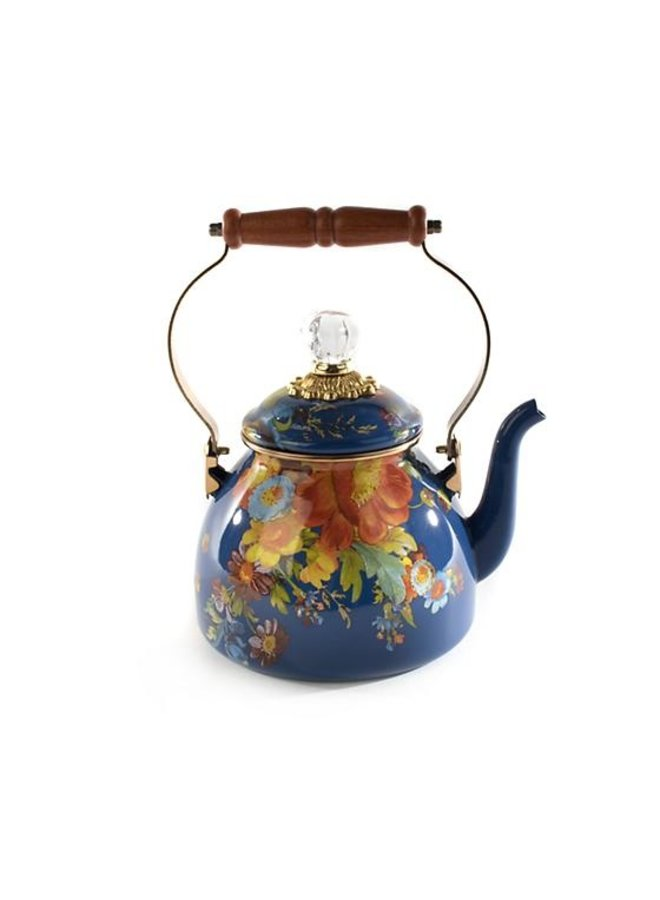 Flower Market Tea Kettle - 2 Quart - Lapis