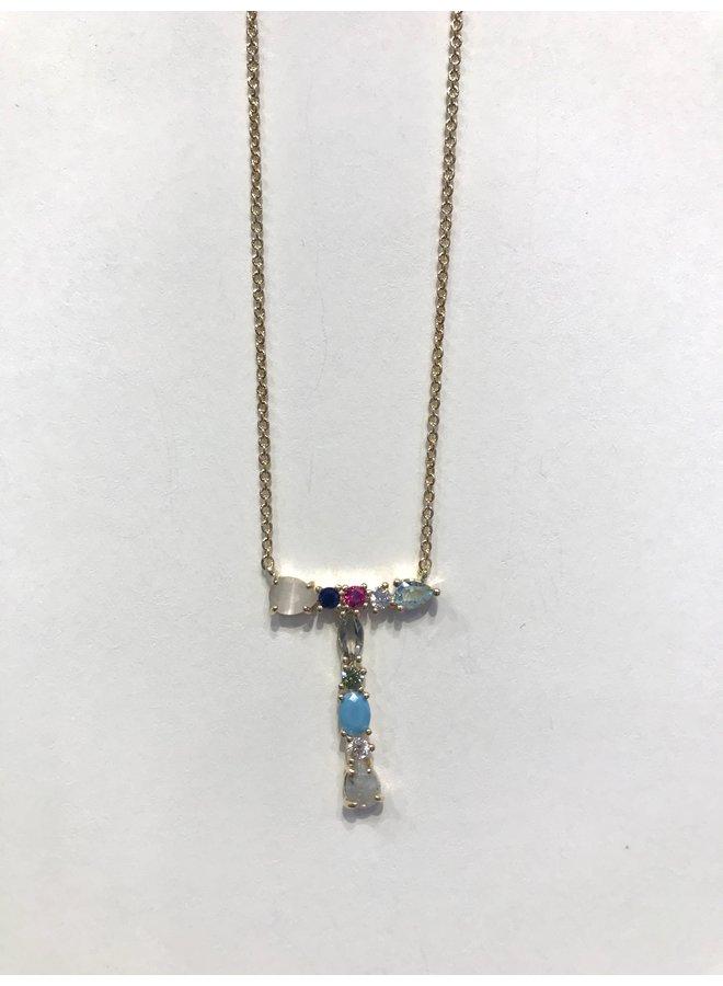 Stone Monogram Multi Necklace M-U