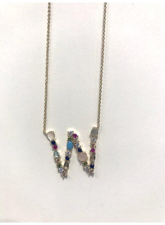 Stone Monogram Multi Necklace V-Z