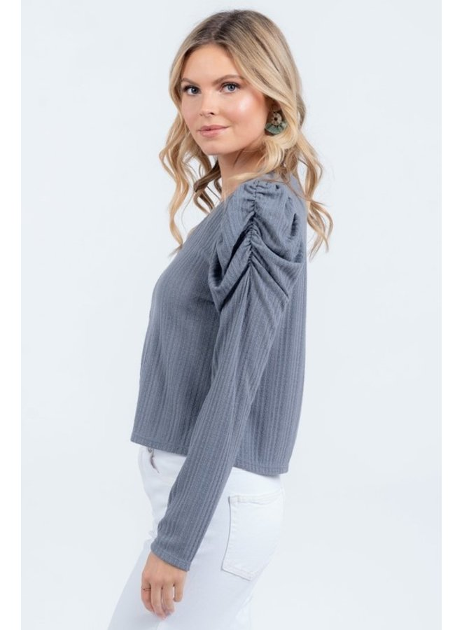 Shirring Detail Long Sleeve Top