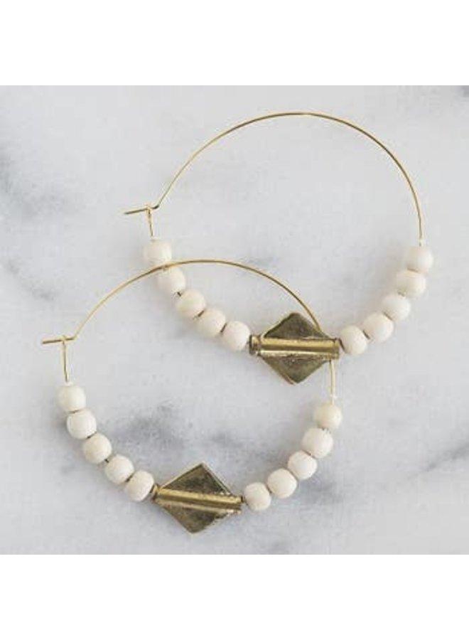 Echo Earrings - Brass & White