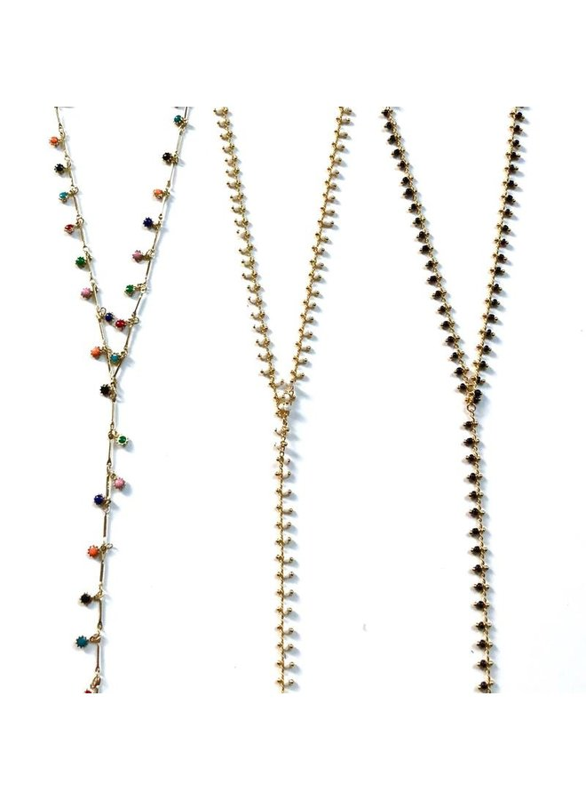 Mini Beaded Larait Necklace- White