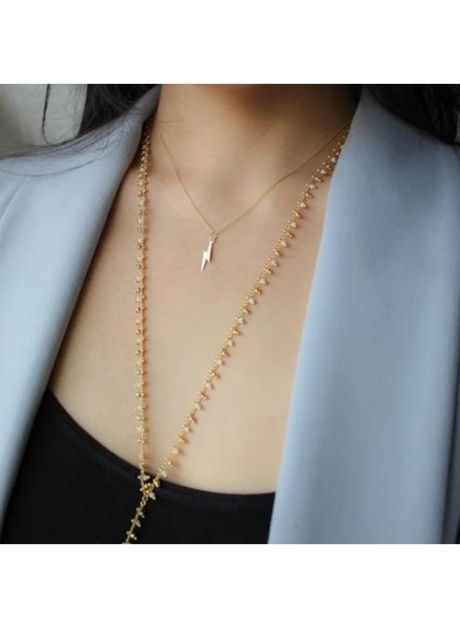 Mini Beaded Larait Necklace- Black