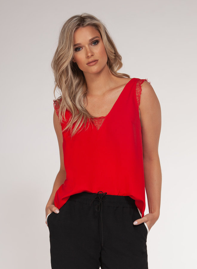 Sexy Lace Tank-Red