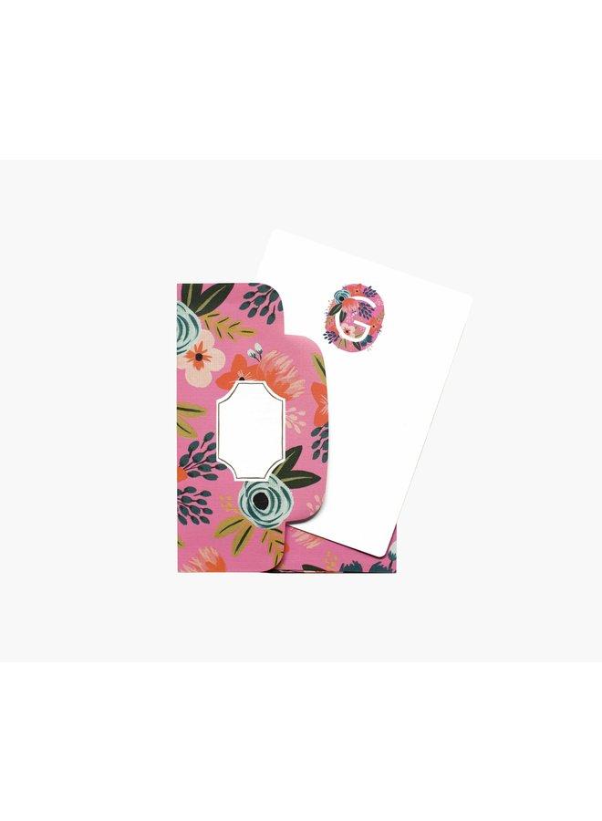 Boxed Set of 8 Floral Monogram Flat Cards