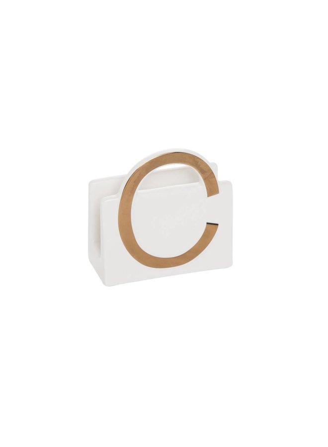 Ceramic Initial Napkin Holder-
