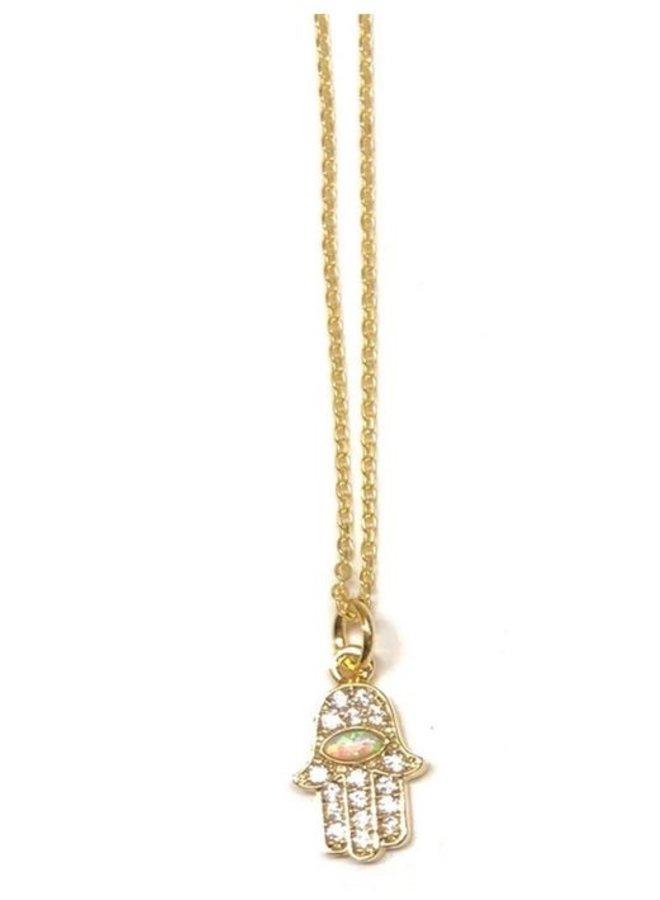 Golden Opal Charm Necklaces- Hamsa