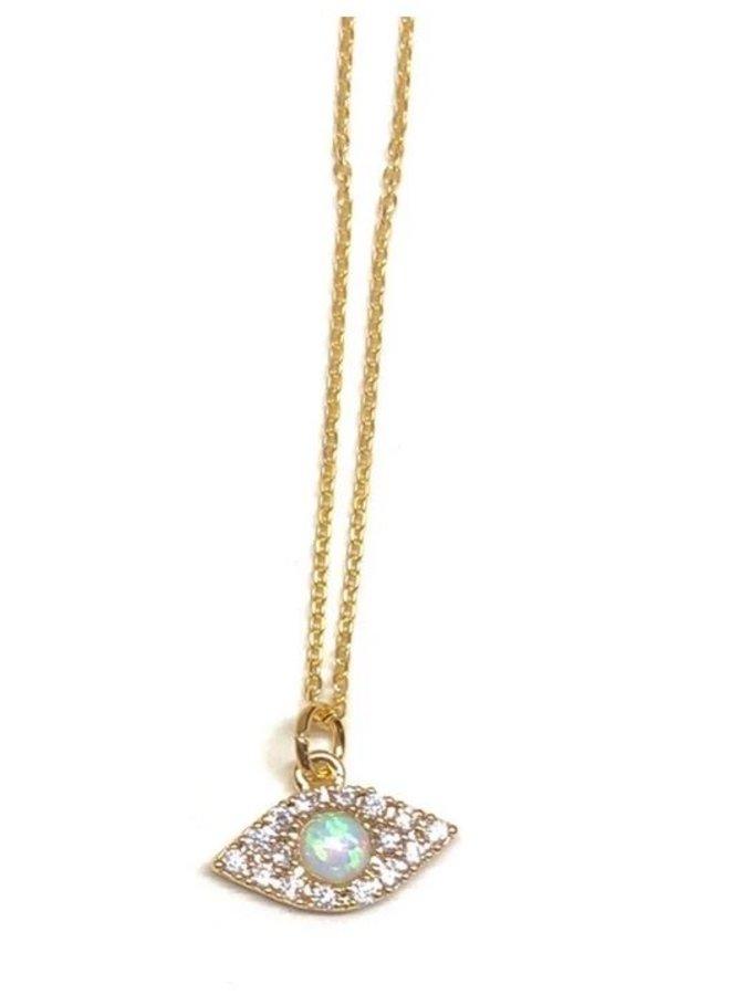 Golden Opal Charm Necklaces-Evil Eye