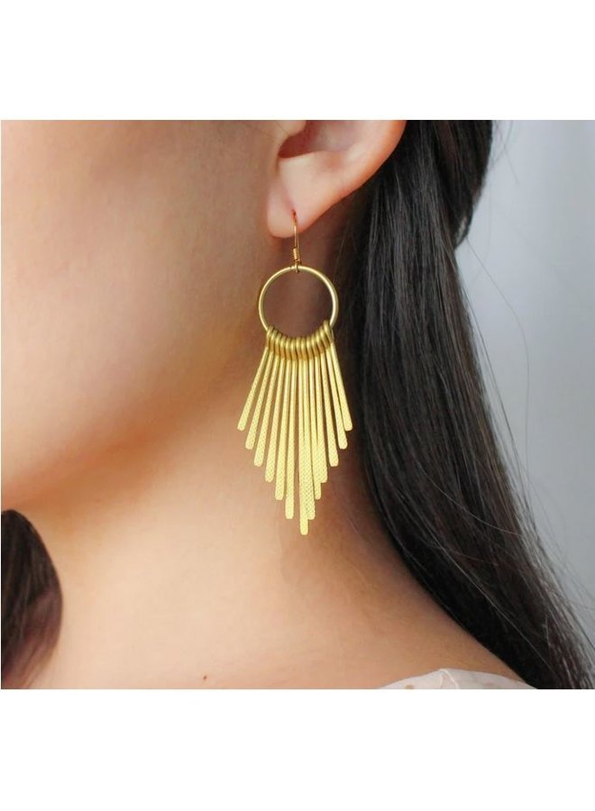 Golden Metal Fringe Earring-Gold