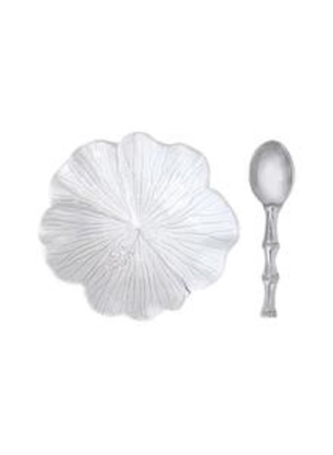 Hibiscus Ceramic Bowl with Bamboo Spoon