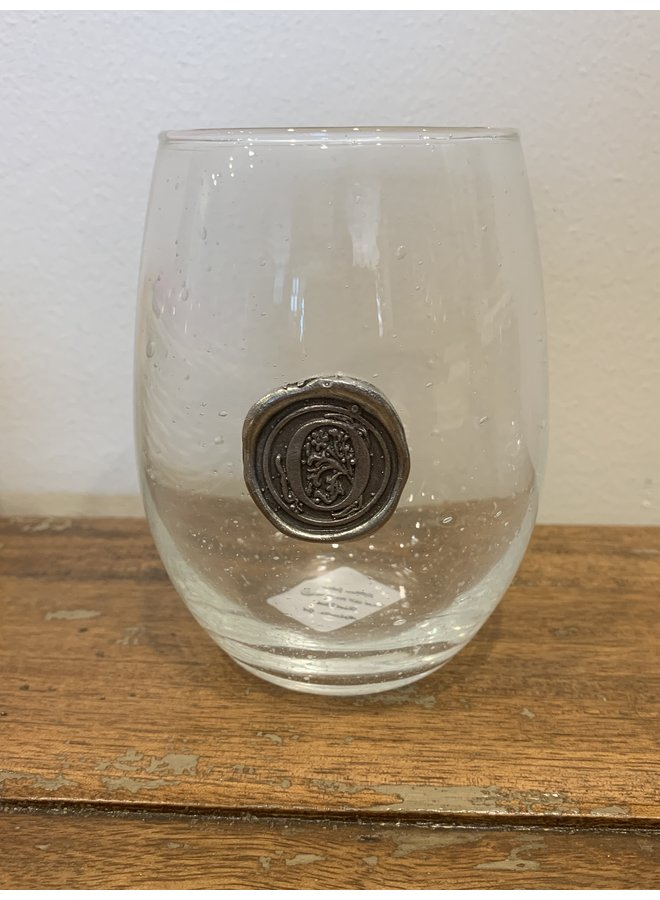 Stemless Wine Glass-Initial O