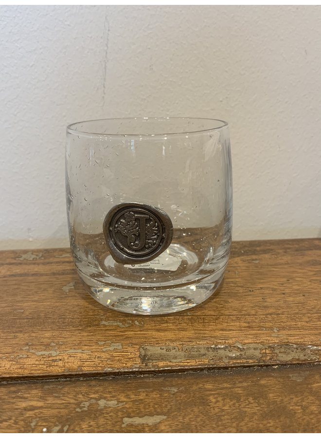 Double Old Fashion Glass -Initial J