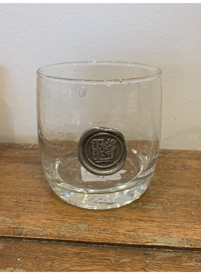 Double Old Fashion Glass- Initial L