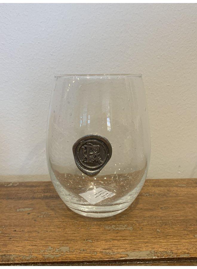 Stemless Wine Glass -Initial F