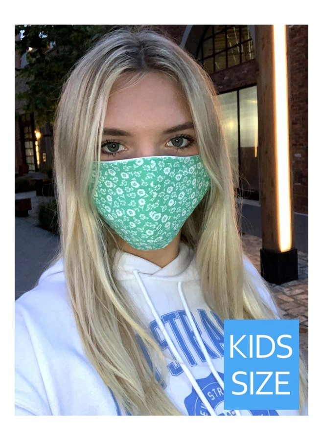 Kid's Face Mask- Green FLoral