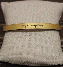 """Laurel Denise Gold """"begin anywhere"""" Leather Bracelet"""