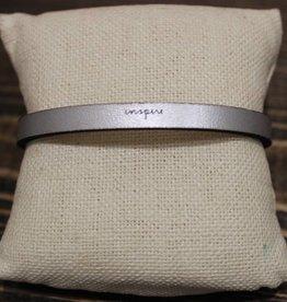 "Laurel Denise Silver ""Inspire"" Leather Bracelet"