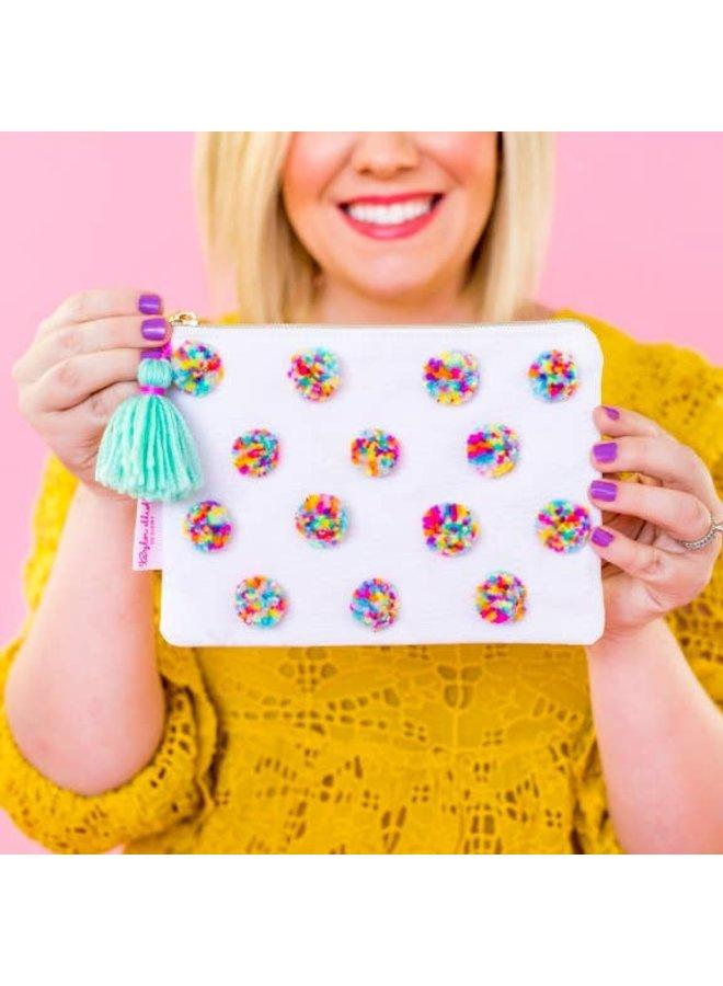Multi-Colored Pom Pom Pouch