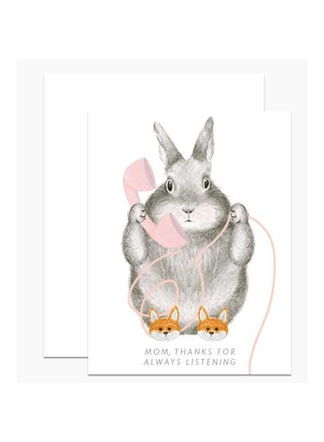 Bunny in Fox Slippers Mom Card