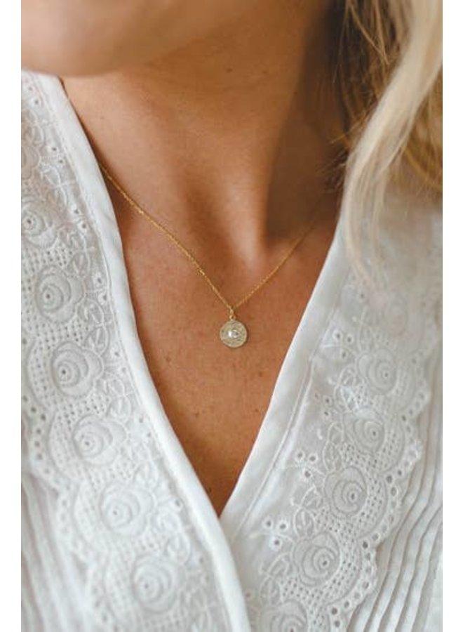 Hammered Gem Necklace-Gold