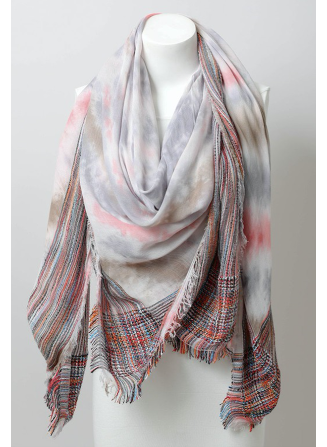 Tie Dye Border Scarf-