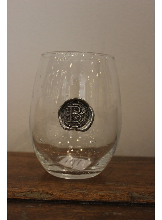 Stemless Wine Glass-Initial B