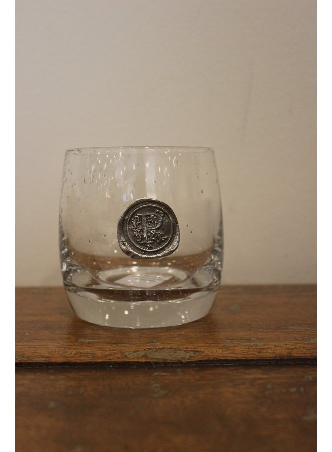 Double Old Fashion Glass-Initial P