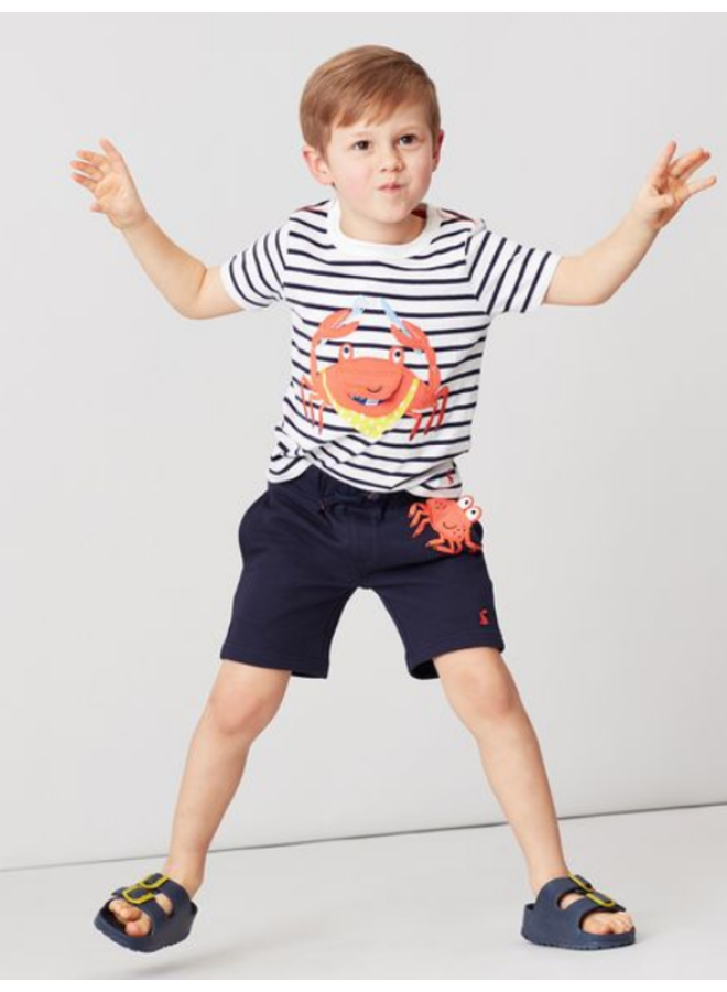 Applique Tshirt-Navy Stripe Crab