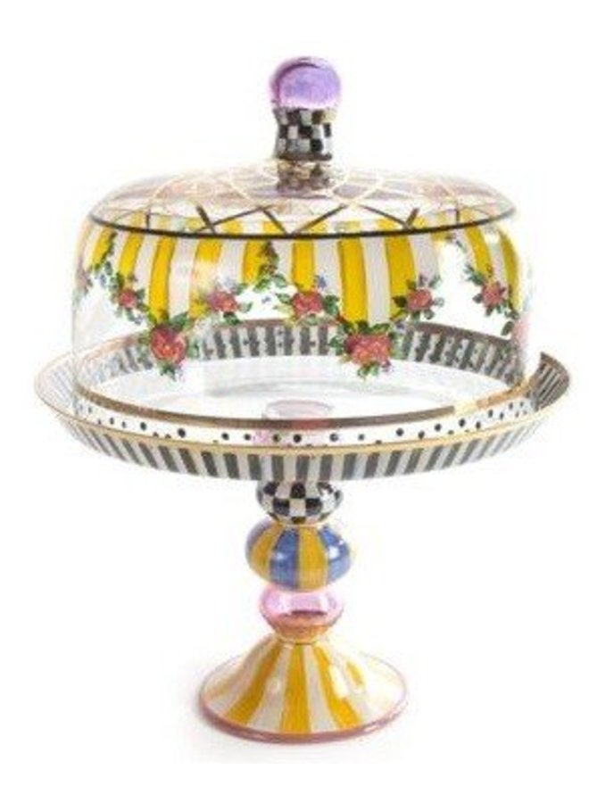 Striped Awning Cake Dome and Stand Set