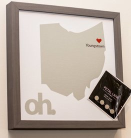 Petal Lane State of Ohio Magnet Board-Gray