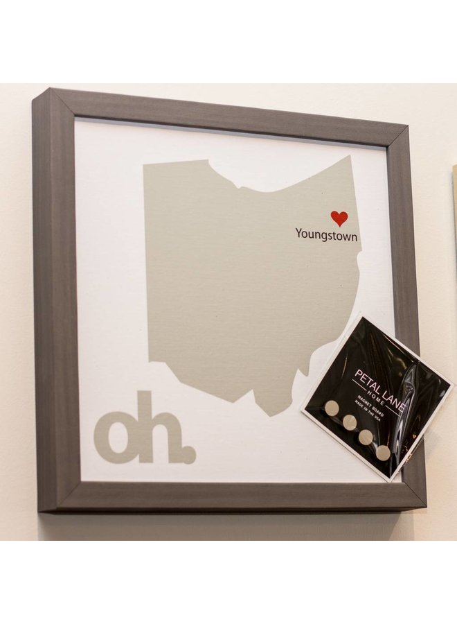 State of Ohio Magnet Board-Gray