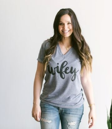 Oyster's Pearl Wifey V Neck Tee