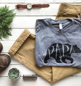 Oyster's Pearl Papa Bear Crew Neck Tee-Grey