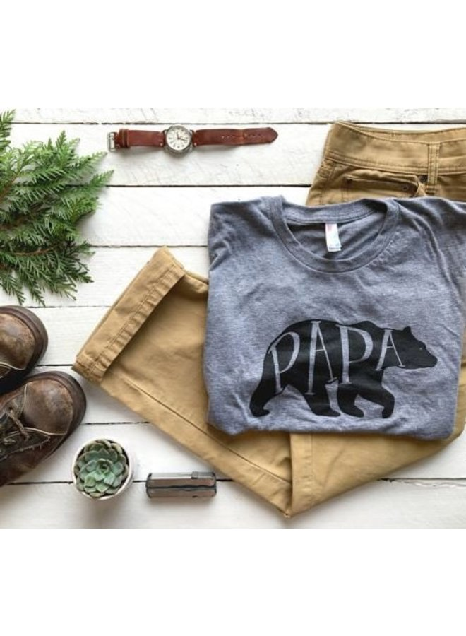Papa Bear Crew Neck Tee-Grey