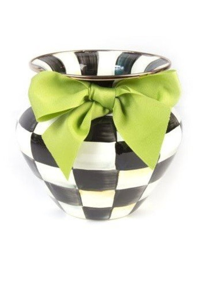 Courtly Check Small Vase Green Bow