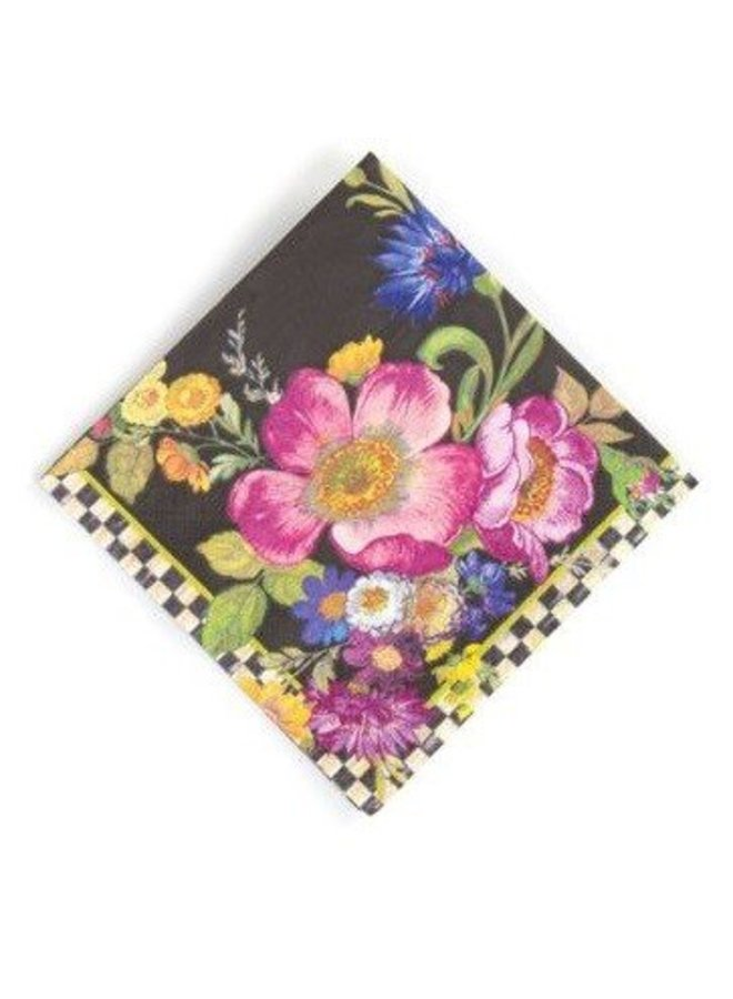 Flower Market Cocktail Napkins- Black