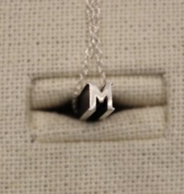 "Beth Macri Silver Initial ""M"" Hidden Message Necklace"