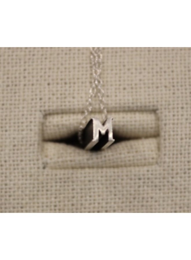 """Silver Initial """"M"""" Hidden Message Necklace"""
