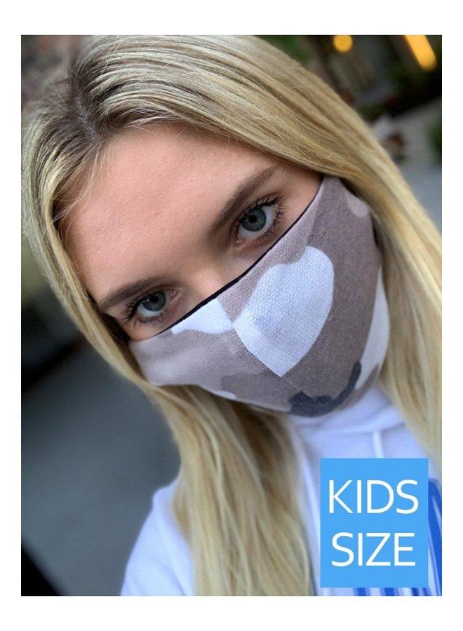 Kid's Face Mask-Tan Camo