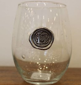 Southern Jubilee Stemless Wine Glass-Initial H