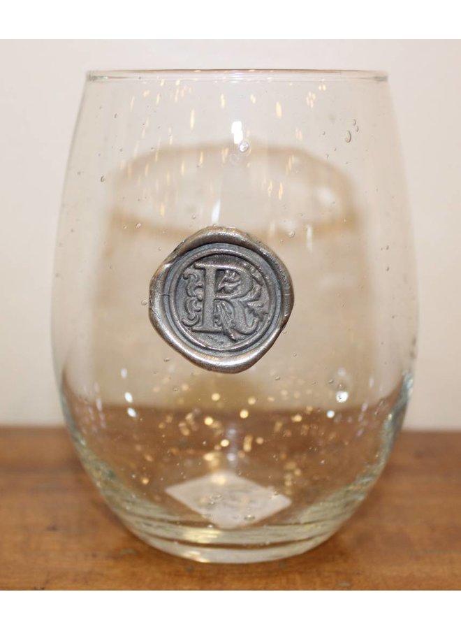 Stemless Wine Glass-Initial R