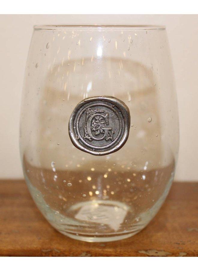 Stemless Wine Glass-Initial G