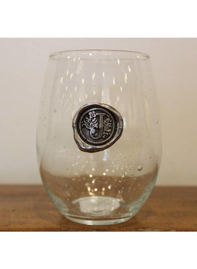 Stemless Wine Glass-Initial J