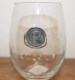 Southern Jubilee Stemless Wine Glass-Initial P