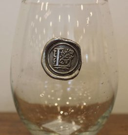 Southern Jubilee Stemless Wine Glass-Initial L
