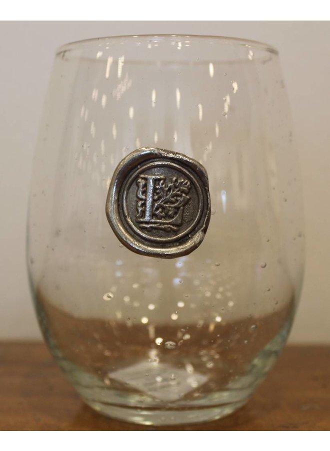 Stemless Wine Glass-Initial L