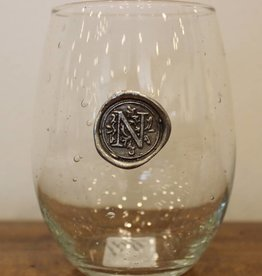 Southern Jubilee Stemless Wine Glass-Initial N