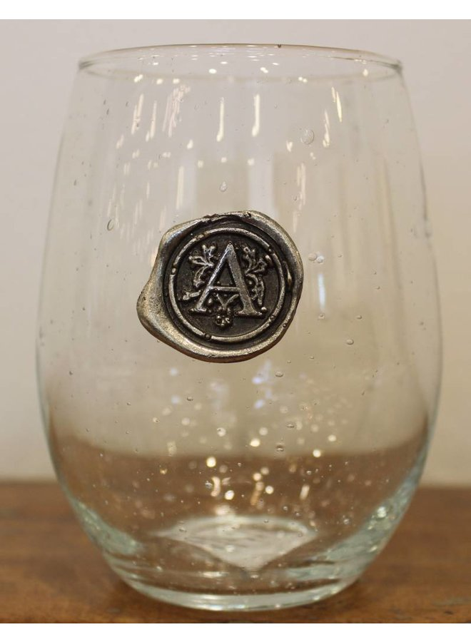 Stemless Wine Glass-Initial A