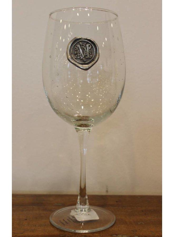 Stem Wine Glass-Initial M